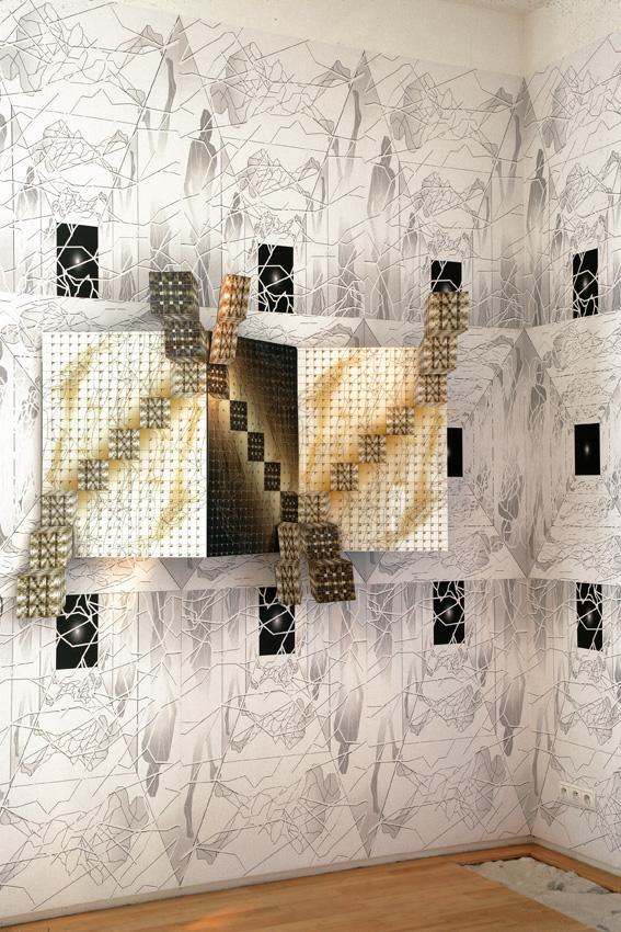 """Demeure Fractale - Les Corps Fractals - Meynard - Monaco 2006... sur un mur de sérigraphies aux corps fractals, l'oeuvre """"L'Escalier"""""""