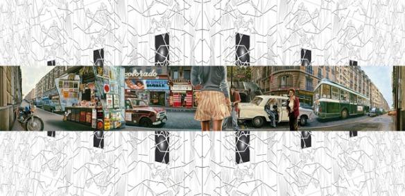 """Jean-Claude Meynard - """" Hyper-Street """"(Peinture sur toile de 7 mètres de longueur ) 1974  sur une """"Rue fractale"""" 2010 (Sérigraphie numérique sur p.v.c) Cette installation a été présentée au Centre d'Art Villa Tamaris en 2010"""