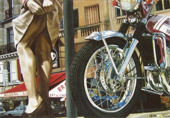 La Motocyclette de Meynard  - Peinture hyperréaliste sur toile 89x130cm