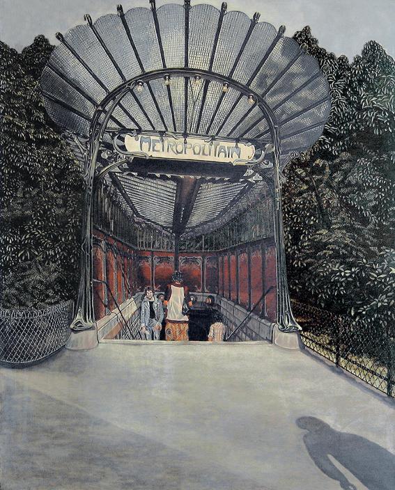 """ Métropolitain""  - Meynard - Tableau hyperréaliste  - peinture sur toile"