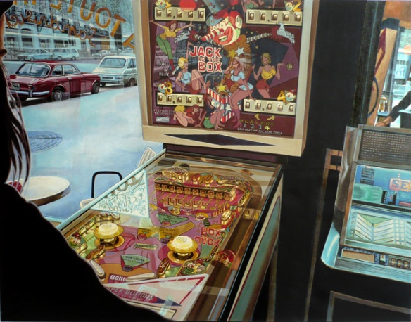 Le Flipper - Tableau hyperréaliste de Meynard - 1974  - Collection privée