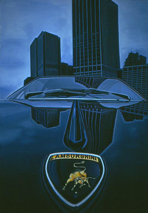 Lamborghini - Tableau hyperréaliste de Meynard - peinture sur toile - Collection privée