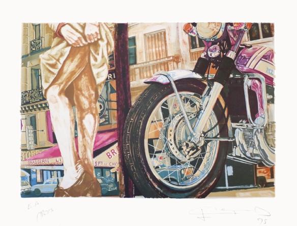 """La Motocyclette de Meynard  - Lithographie intitulée """" Mars"""""""