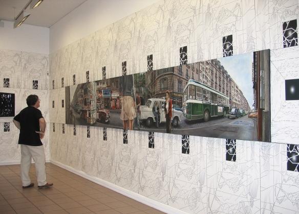"""Hyper Street"" de Meynard - 1974/1975  - Tabeau hyperréaliste de 7 mètres de longueur - en quadryptique."