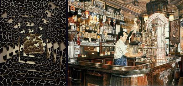 """Jean-Claude Meynard - """"Echo"""" 2005 (Architecture fractale) - Brasserie"""" 1975 (Acrylique sur toile)"""