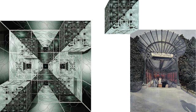 """Meynard - """"Maison Fractale"""" 2004 (Architecture numérique) - """" Le Métropolitain"""" 1974 (Acrylique sur toile)"""