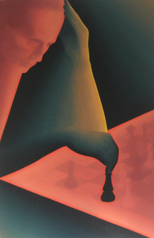 Portrait de Marcel Duchamp par Jean-Claude Meynard - peinture acrylique sur toile - 1981 - 100x73 cm
