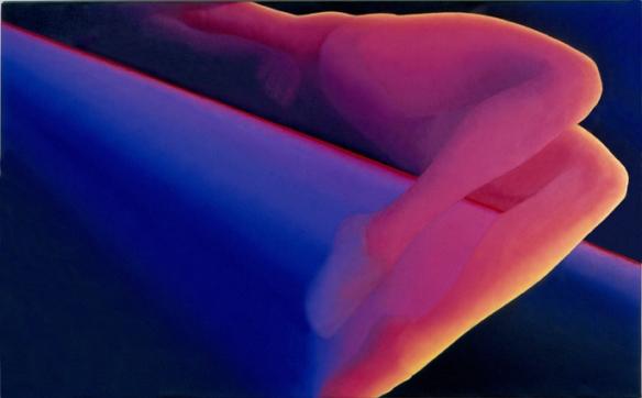 """Jean-Claude Meynard - """"Le Saut """", peinture acrylique sur toile - 1982 - 89x130 cm"""