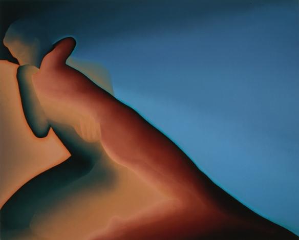 """Le Baiser - Peinture de Jean-Claude Meynard -  Acrylique sur toile -  96x160 cm - Série """" Corps et Graphiques"""" - 1983"""