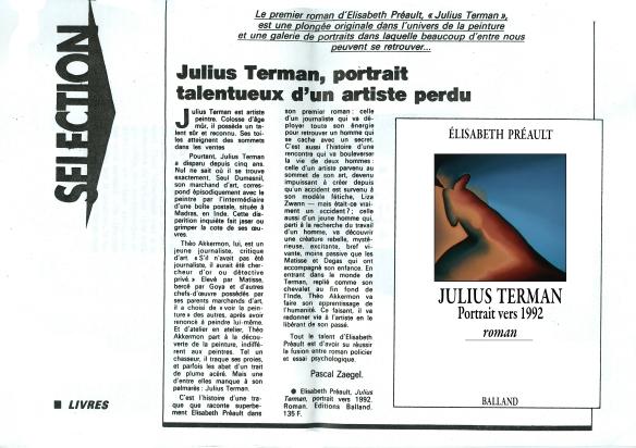 Julius Terman, roman d'Elisabeth Préault,