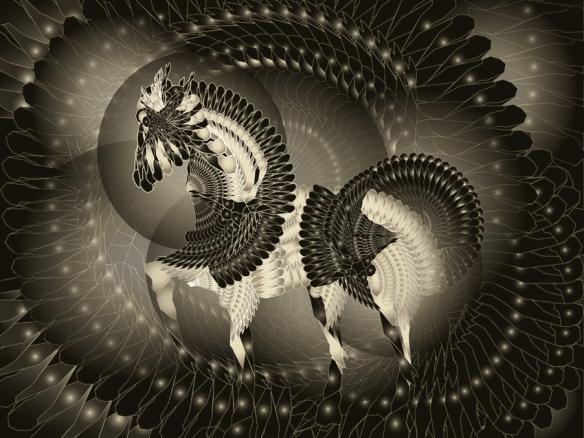Pegasus - Bestiaire Fractal - Jean-Claude Meynard.