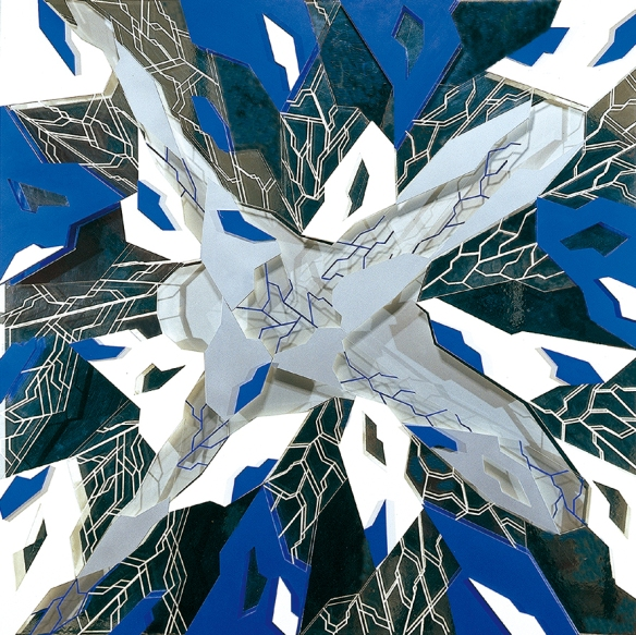 Icare 3 de Jean-Claude Meynard - 1998 - 120 x 120 cm - Oeuvre en plexiglas construite en reliefs